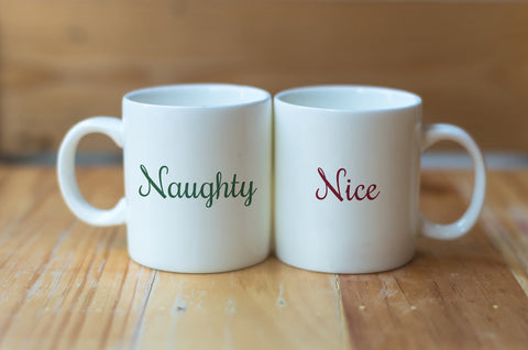 """Naughty & Nice"" Set of Mugs by OneBellaCasa"