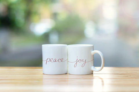 """Peace & Joy Script"" Set of Mugs by OneBellaCasa"