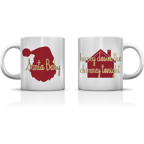 """Santa Baby Gold"" Set of Mugs by OneBellaCasa"