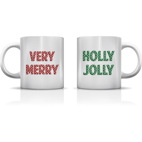 """Very Merry Holly Jolly"" Set of Mugs by OneBellaCasa"