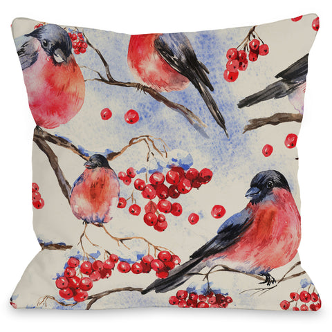 """Bullfinch Pattern"" Indoor Throw Pillow by OneBellaCasa, 16""x16"""