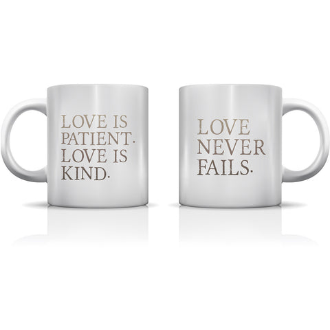 """Love Is Patient"" Set of Mugs by OneBellaCasa"