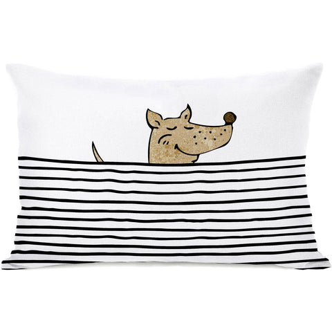 """Peeking Dog"" Indoor Throw Pillow by OneBellaCasa, 14""x20"""