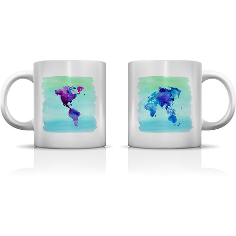 """World In Watercolor"" Set of Mugs by OneBellaCasa"