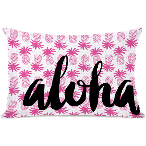"""Aloha Hello Pineapple"" Outdoor Throw Pillow by Pen & Paint, 14""x20"""