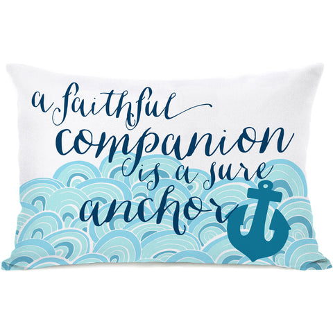 """Faithful Companion Anchor"" Outdoor Throw Pillow by Pen & Paint, 14""x20"""