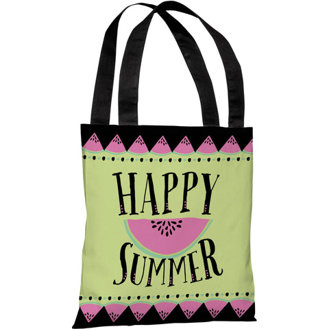 """Happy Summer Watermelon"" 18""x18"" Tote Bag by Pen & Paint"