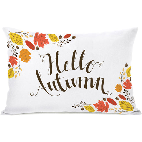 """Hello Autumn"" Outdoor Throw Pillow by Pen & Paint, 14""x20"""