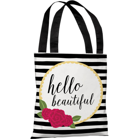 """Hello Beautiful"" 18""x18"" Tote Bag by Pen & Paint"