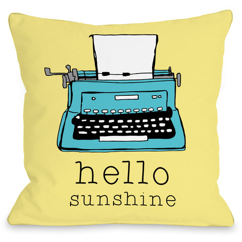 """Hello Sunshine"" Indoor Throw Pillow by Pen & Paint, 16""x16"""
