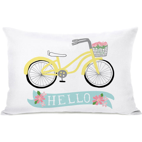 """Hello Yellow Bicycle"" Outdoor Throw Pillow by Pen & Paint, 14""x20"""