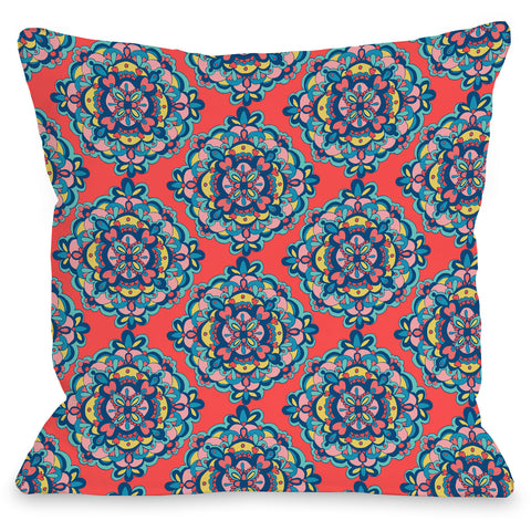 """Mandalas On Coral"" Indoor Throw Pillow by Pen & Paint, 16""x16"""