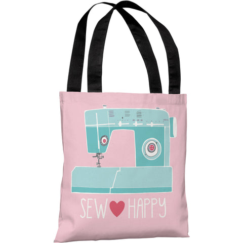 """Sew Happy"" 18""x18"" Tote Bag by Pen & Paint"