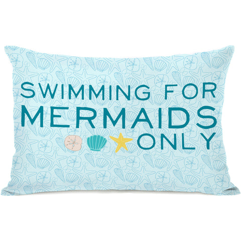 """Swimming For Mermaids Only"" Outdoor Throw Pillow by Pen & Paint, 14""x20"""