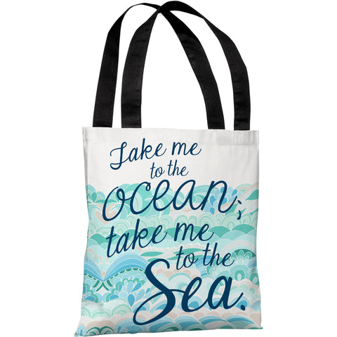 """Take Me To The Ocean"" 18""x18"" Tote Bag by Pen & Paint"