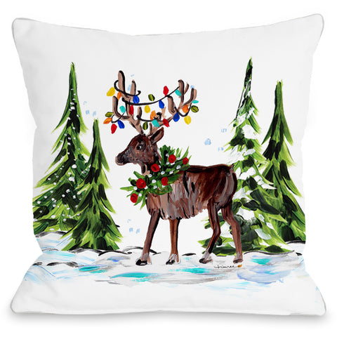 """Reindeer Forest"" Indoor Throw Pillow by Timree Gold, 16""x16"""