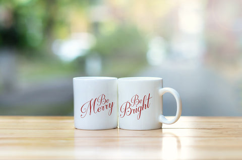 """Be Merry Be Bright"" Set of Mugs by OneBellaCasa"