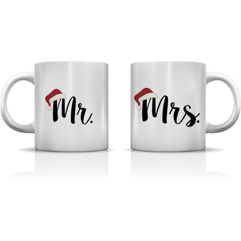 """Mr. & Mrs. Santa Hat"" Set of Mugs by OneBellaCasa"