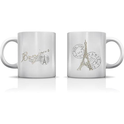 """Bonjour Eiffel"" Set of Mugs by OneBellaCasa"