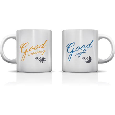 """Good Morning & Good Night"" Set of Mugs by OneBellaCasa"