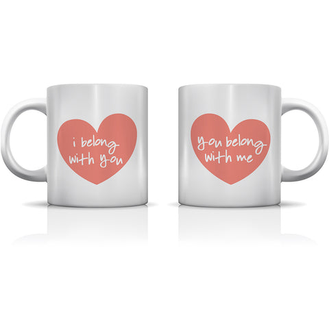 """I Belong With You"" Set of Mugs by OneBellaCasa"