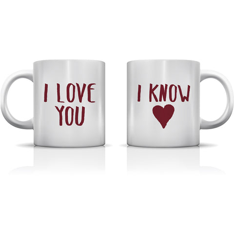 """I Love You - I Know"" Set of Mugs by OneBellaCasa"
