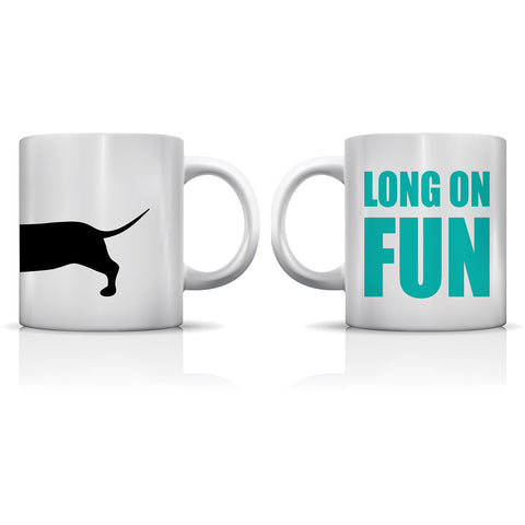 """Long On Fun Dachshund"" Set of Mugs by OneBellaCasa"