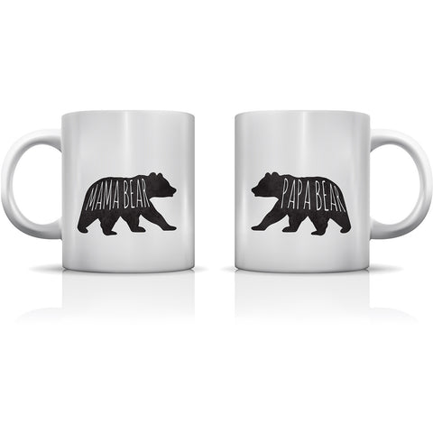 """Mama Bear & Papa Bear"" Set of Mugs by OneBellaCasa"