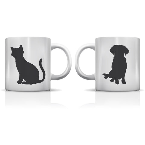 """Women And Cats - Men And Dogs"" Set of Mugs by OneBellaCasa"
