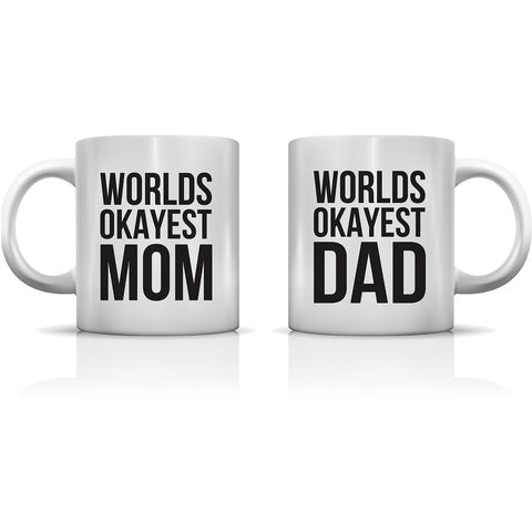 """Worlds Okayest Mom & Dad"" Set of Mugs by OneBellaCasa"
