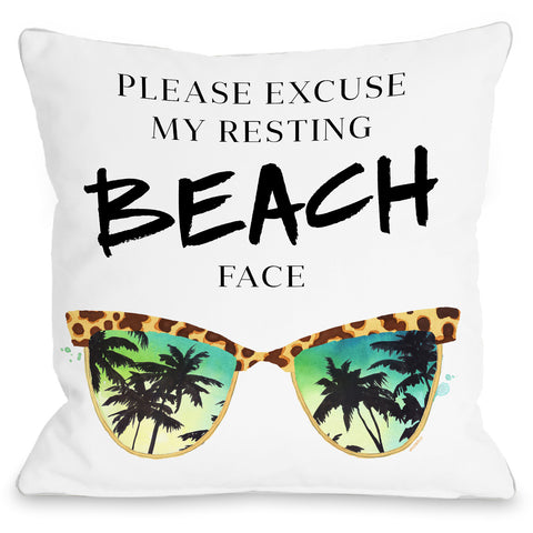 """Resting Beach Face"" Outdoor Throw Pillow by lezleeelliot, 16""x16"""