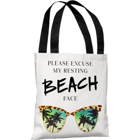 """Resting Beach Face"" 18""x18"" Tote Bag by lezleeelliot"
