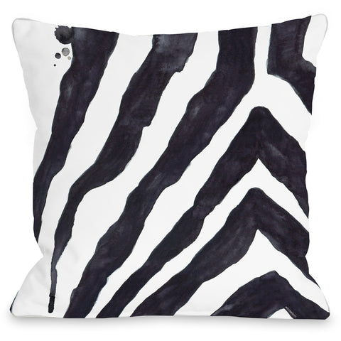 """Stripey Zebra"" Outdoor Throw Pillow by lezleeelliot, 16""x16"""