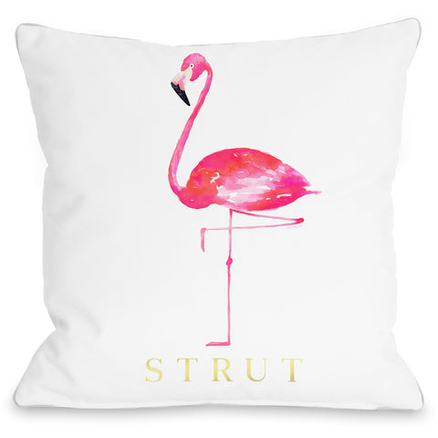 """Flamingo Strut"" Outdoor Throw Pillow by lezleeelliot, White/Pink, 16""x16"""