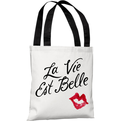 """Tis The Happiest Season of All"" 18""x18"" Tote Bag by Lily & Val"