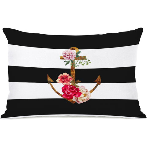 """Anchors Away"" Outdoor Throw Pillow by OneBellaCasa, 14""x20"""