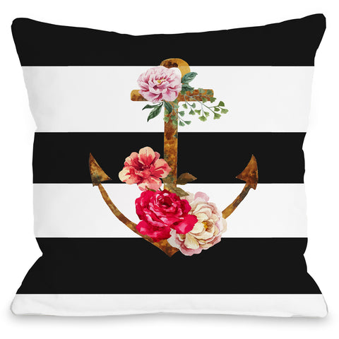 """Anchors Away"" Outdoor Throw Pillow by OneBellaCasa, 16""x16"""