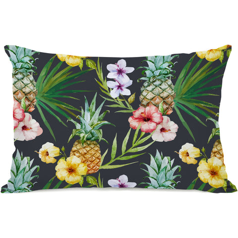 """Hawaiian Pineapples"" Outdoor Throw Pillow by OneBellaCasa, 14""x20"""