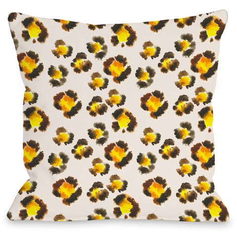 """Leopard Spots"" Outdoor Throw Pillow by OneBellaCasa, 16""x16"""