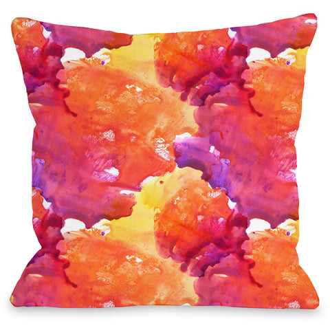 """Neon Sunset"" Outdoor Throw Pillow by OneBellaCasa, 16""x16"""