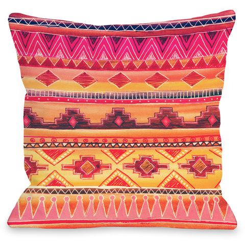 """Tequila Sunrise"" Outdoor Throw Pillow by OneBellaCasa, 16""x16"""