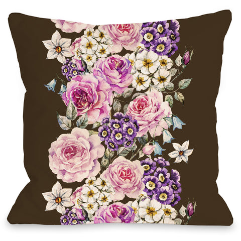 """Vintage Flower Stripe"" Outdoor Throw Pillow by OneBellaCasa, 16""x16"""