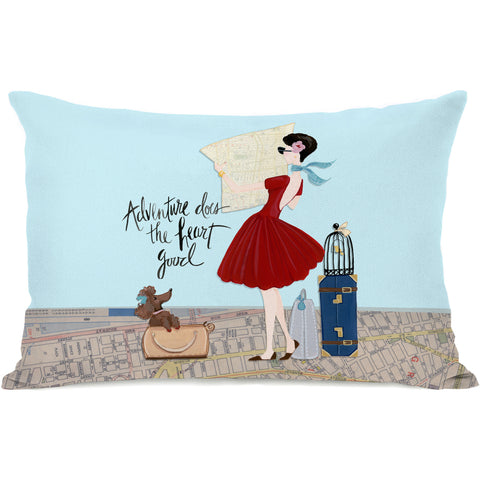 """Adventure Does Heart Good"" Indoor Throw Pillow by April Heather Art, 14""x20"""