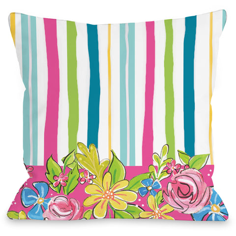"""Blair Flower Stripes"" Outdoor Throw Pillow by April Heather Art, 16""x16"""