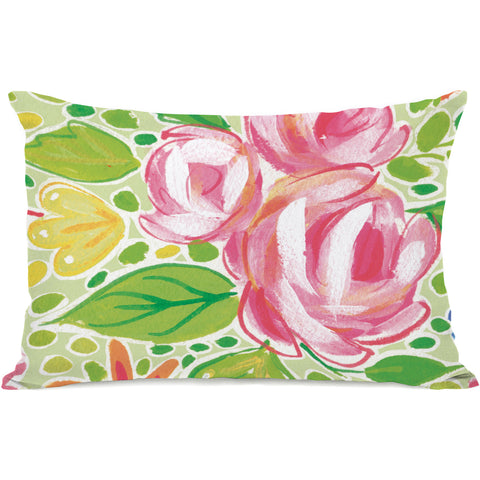"""Charlotte Flowers"" Outdoor Throw Pillow by April Heather Art, 14""x20"""
