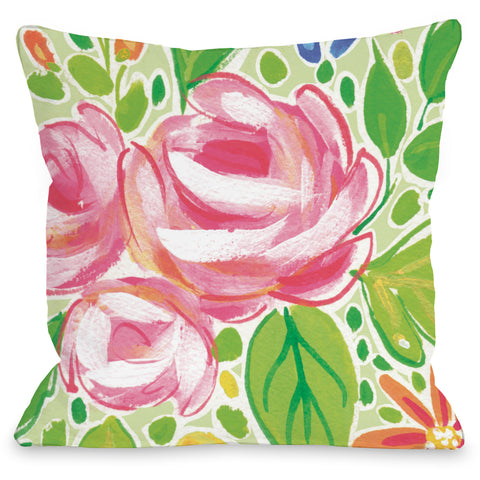 """Charlotte Flowers"" Outdoor Throw Pillow by April Heather Art, 16""x16"""