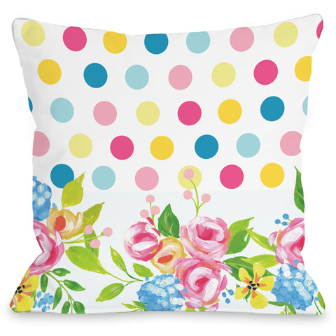 """Fallon Floral Dots Rainbow"" Outdoor Throw Pillow by April Heather Art, 16""x16"""