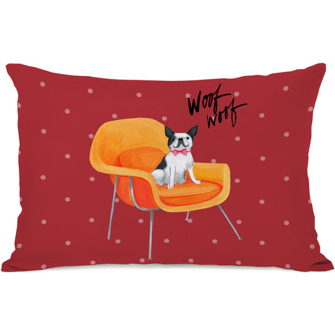 """Frenchie Chair"" Indoor Throw Pillow by April Heather Art, 14""x20"""