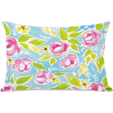 """Monica Flowers"" Outdoor Throw Pillow by April Heather Art, 14""x20"""