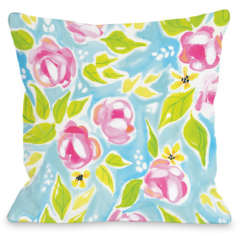 """Monica Flowers"" Indoor Throw Pillow by April Heather Art, 16""x16"""